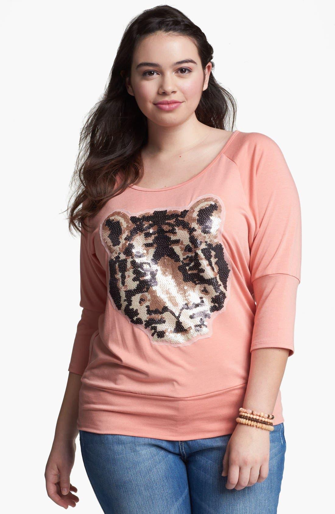 Main Image - Painted Threads 'Tiger' Sequin Top (Juniors Plus)