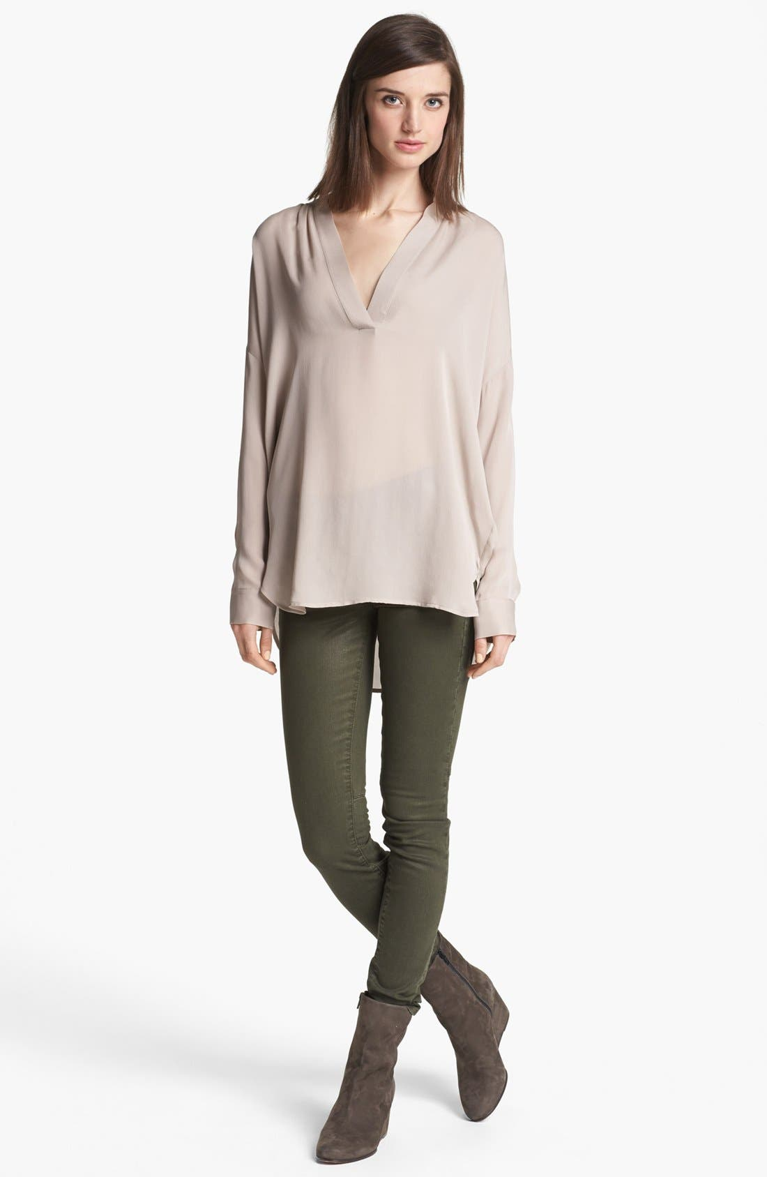 Alternate Image 4  - Vince Skinny Stretch Jeans (Dark Olive)