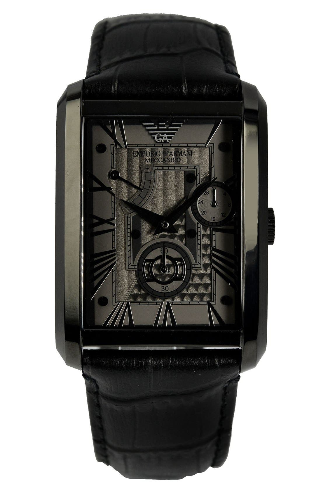 Alternate Image 1 Selected - Emporio Armani Rectangular Meccanico Automatic Leather Strap Watch, 34mm x 47mm