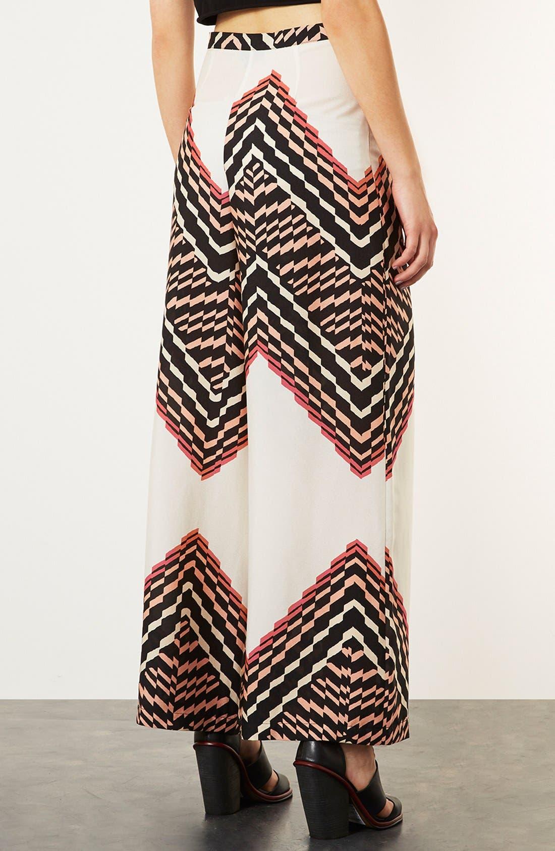 Alternate Image 2  - Topshop Zigzag Print Wide Leg Trousers