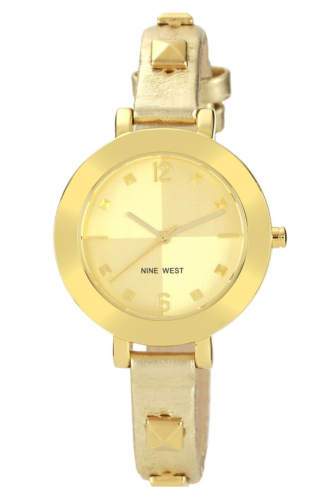 Main Image - Nine West Round Skinny Studded Strap Watch, 35mm