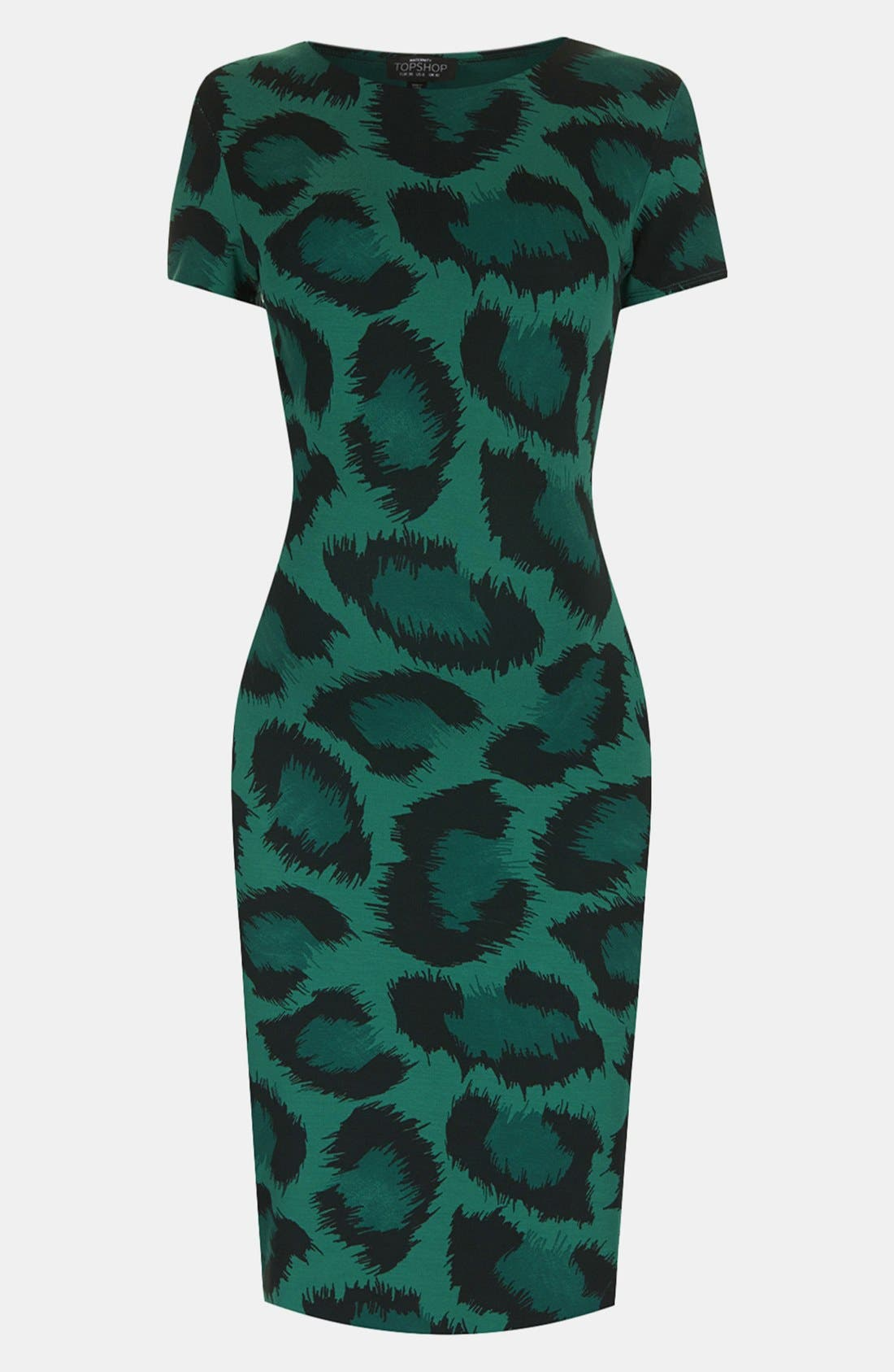 Alternate Image 1 Selected - Topshop Green Leopard Body-Con Maternity Dress