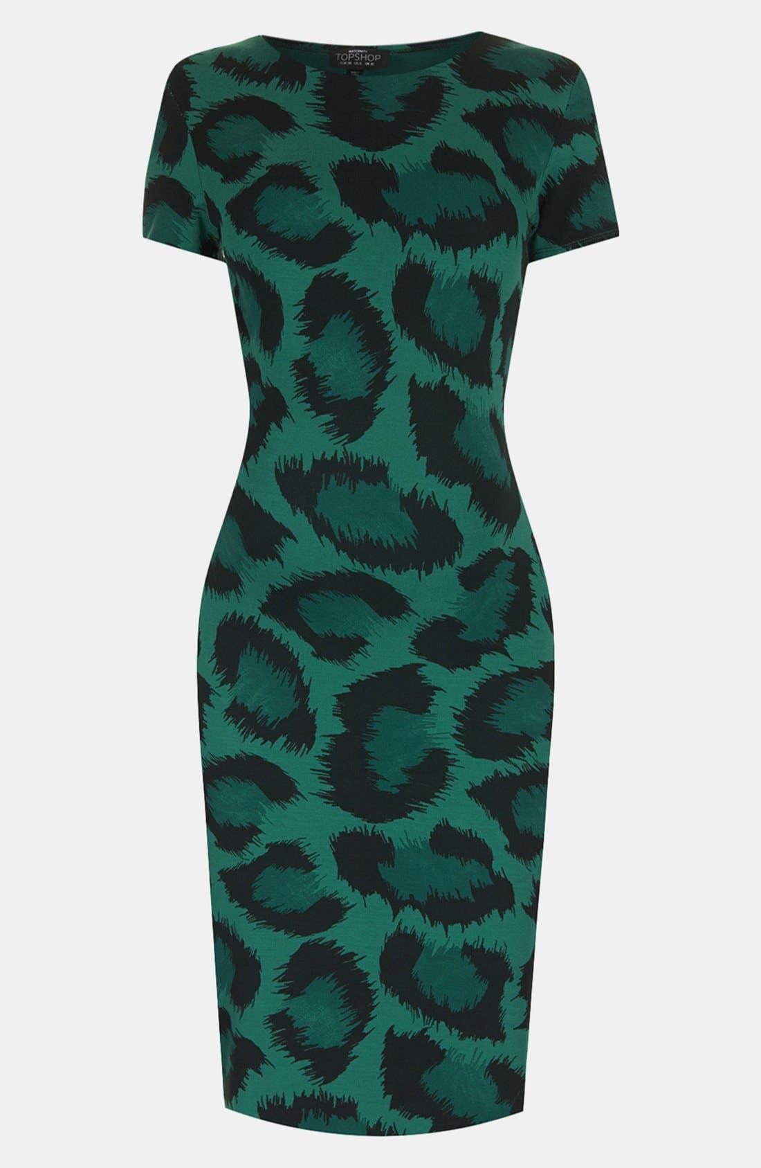 Main Image - Topshop Green Leopard Body-Con Maternity Dress