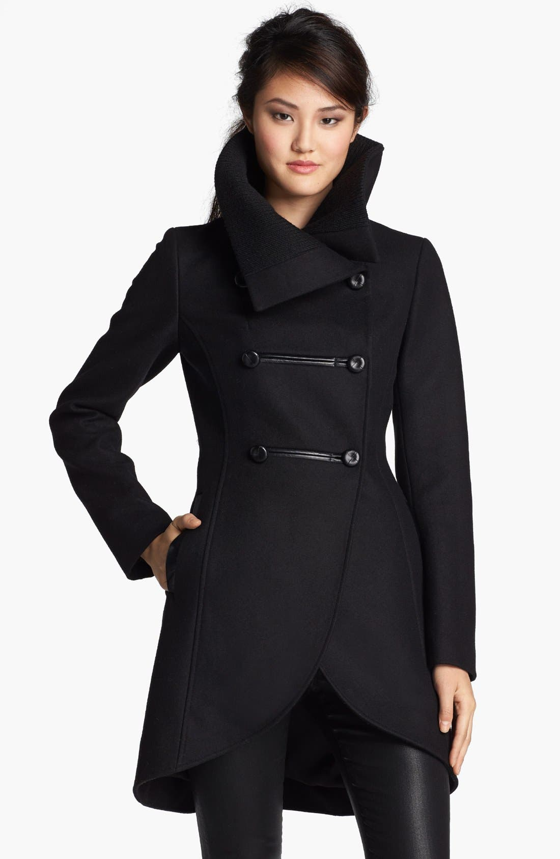 Alternate Image 1 Selected - Mackage Leather Trim Double Breasted Coat