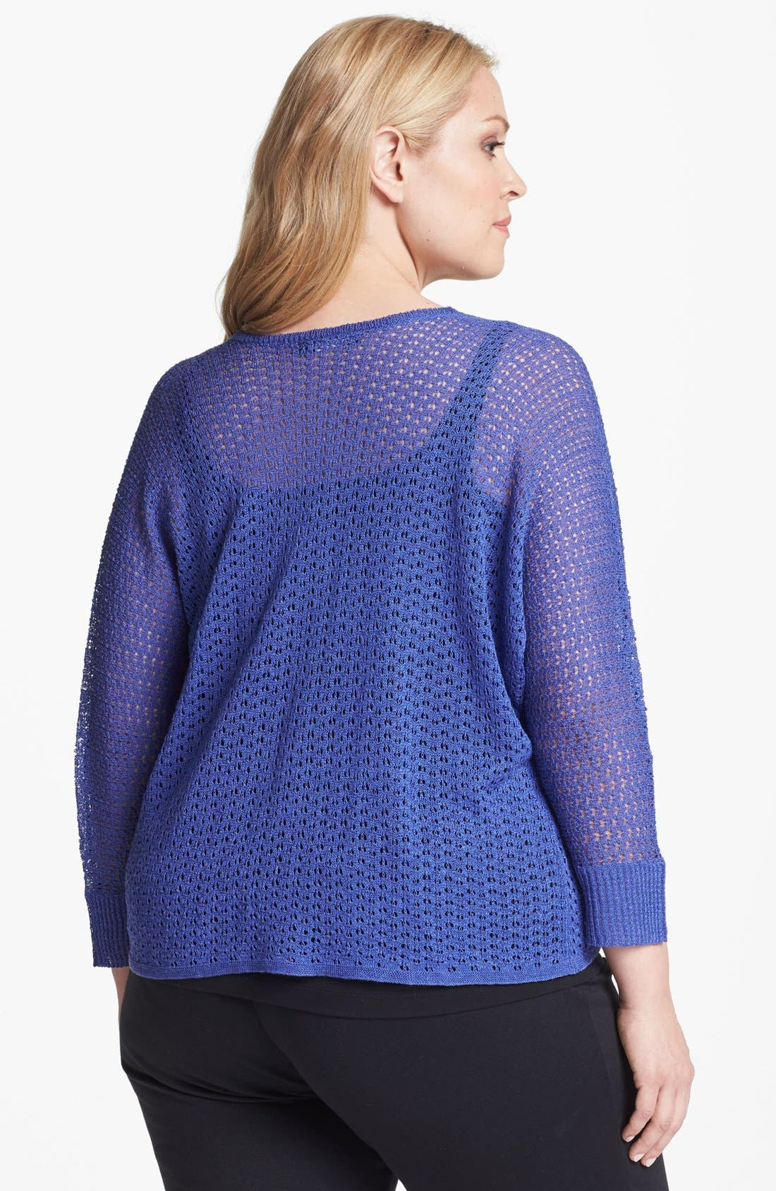 Alternate Image 2  - Nic + Zoe Dolman Sleeve Pointelle Cardigan (Plus Size)
