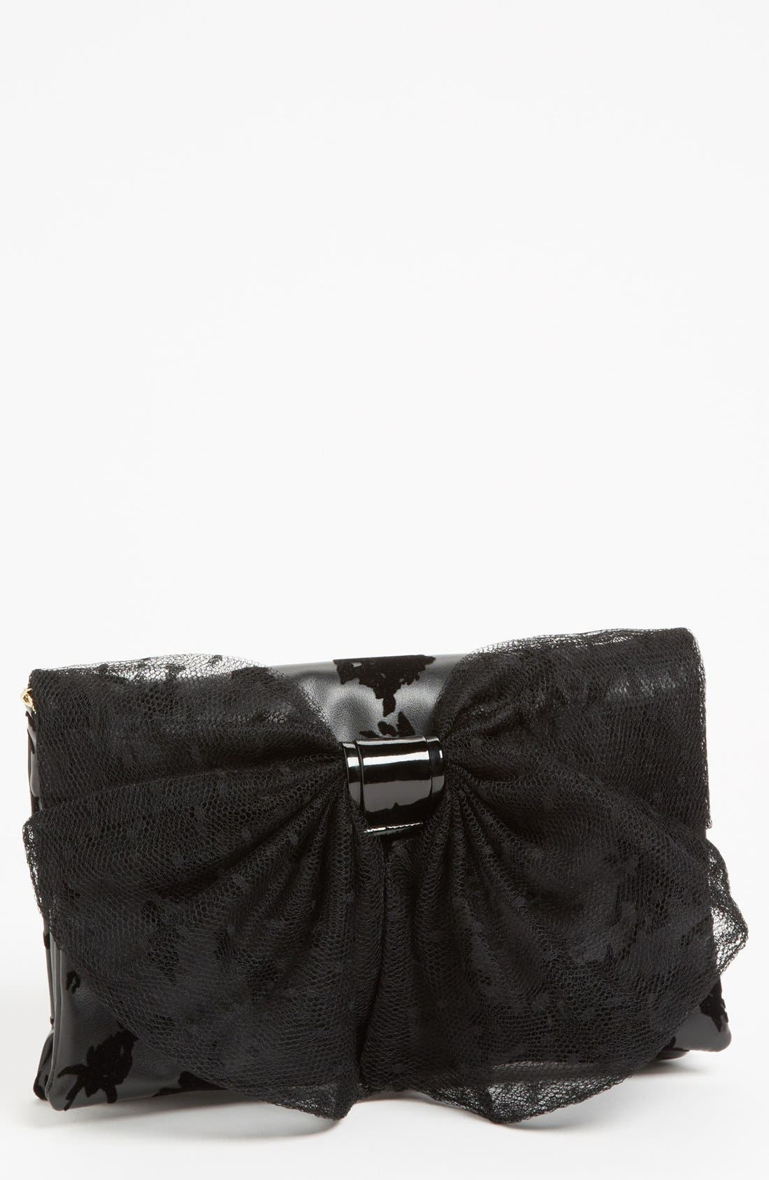 Main Image - RED Valentino 'Dot Bow' Flocked Clutch