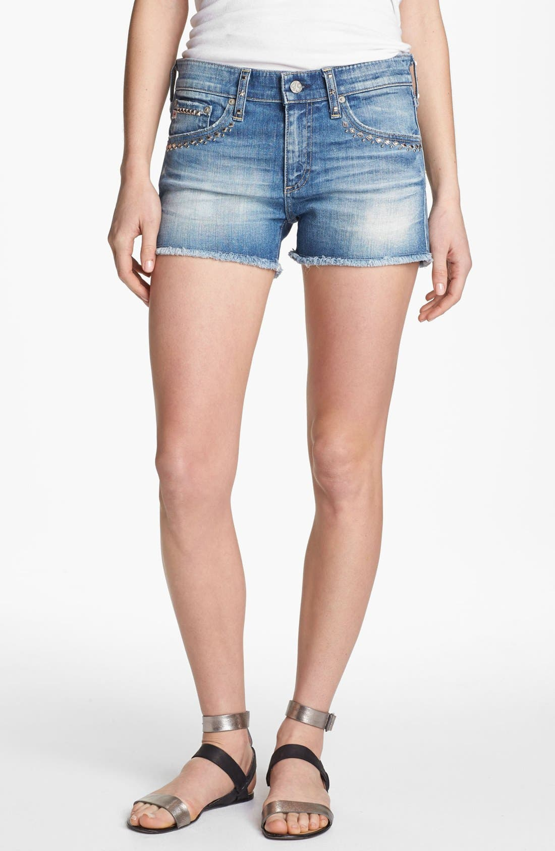 Alternate Image 1 Selected - AG Jeans 'Pixie' Cutoff Denim Shorts (17 Year Studded)