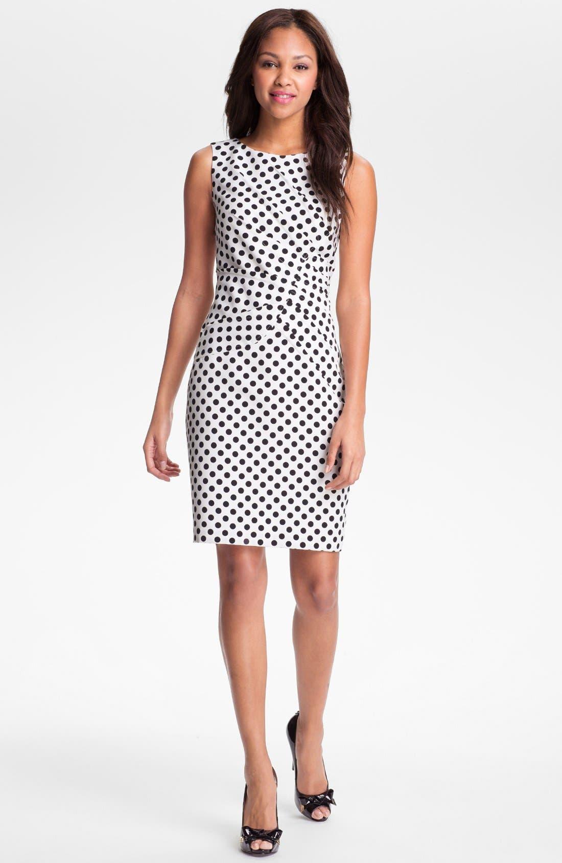 Alternate Image 1 Selected - Adrianna Papell Pleated Polka Dot Sheath Dress (Regular & Petite)