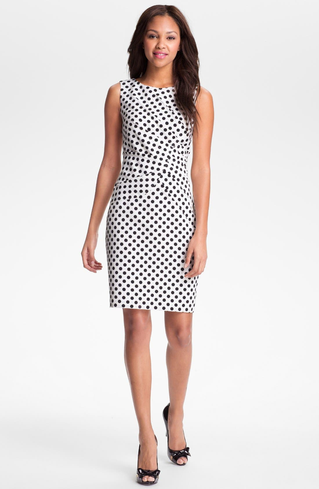 Main Image - Adrianna Papell Pleated Polka Dot Sheath Dress (Regular & Petite)
