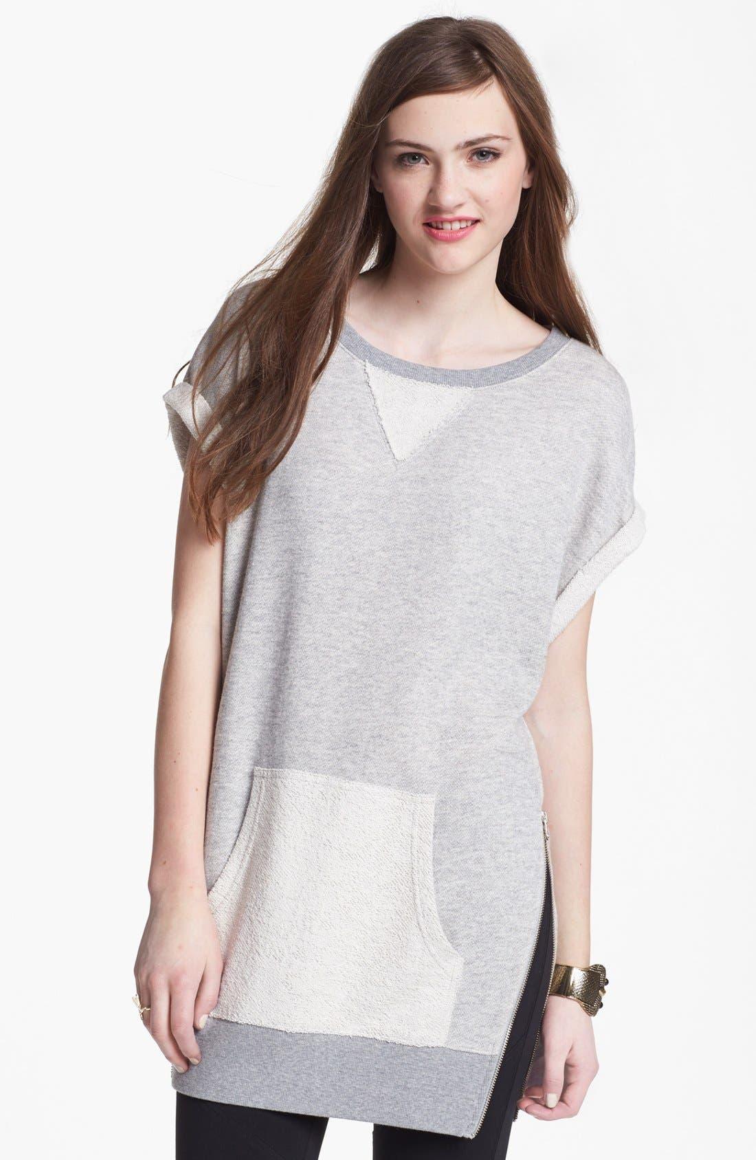 Main Image - BP. Roll Sleeve Side Zip Long Sweatshirt (Juniors)