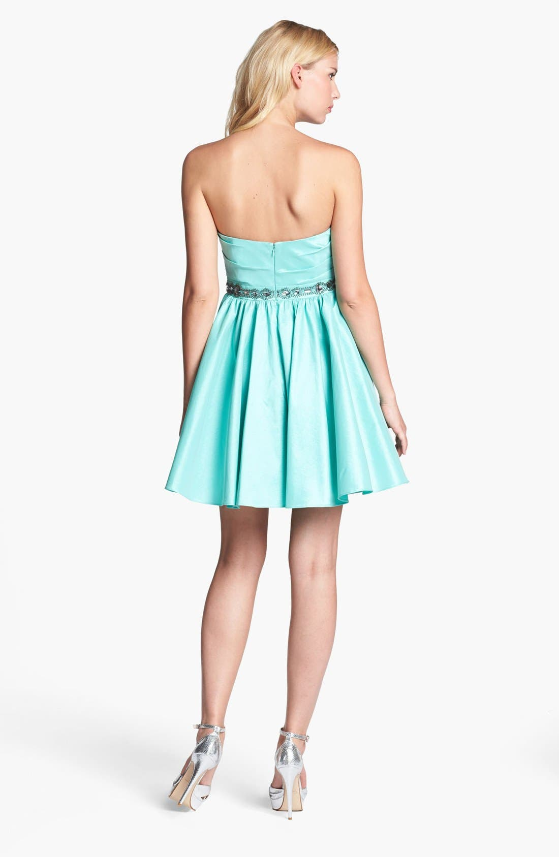 Alternate Image 2  - Aidan Mattox Strapless Bead Waist Dress (Online Only)
