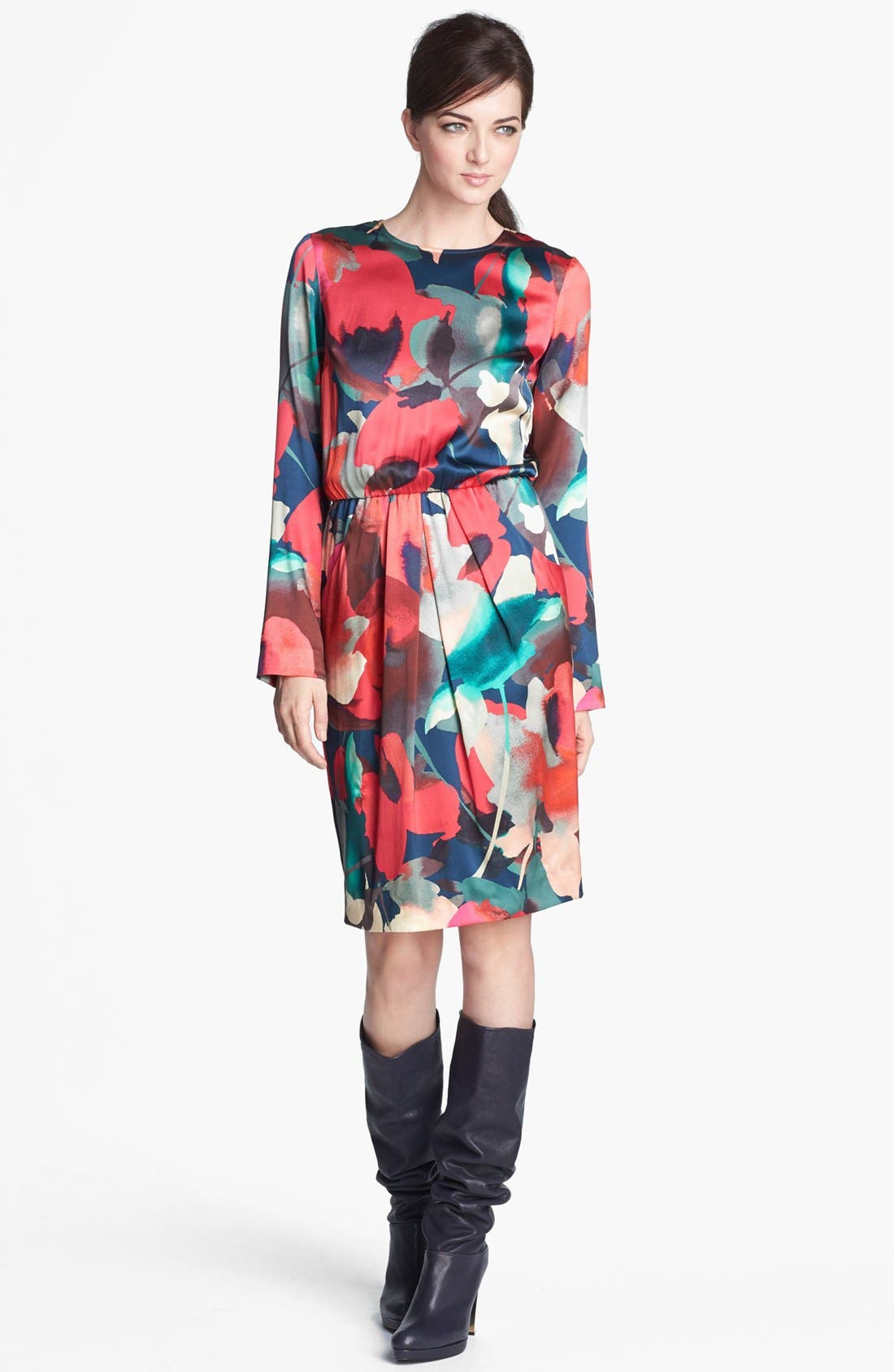 Main Image - St. John Collection Abstract Print Silk Charmeuse Dress