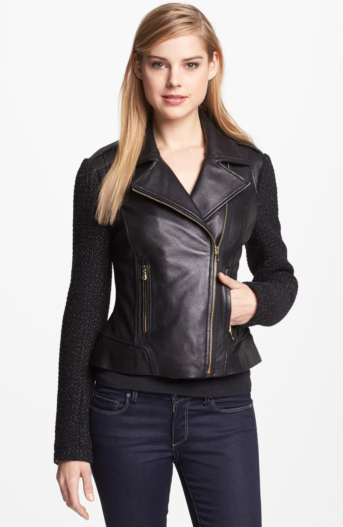 Main Image - French Connection Leather & Metallic Tweed Moto Jacket