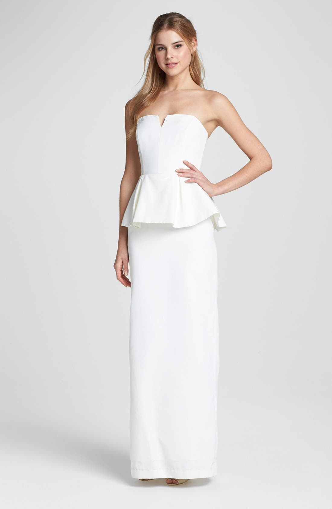 Alternate Image 1 Selected - Nicole Miller Strapless Peplum Gown