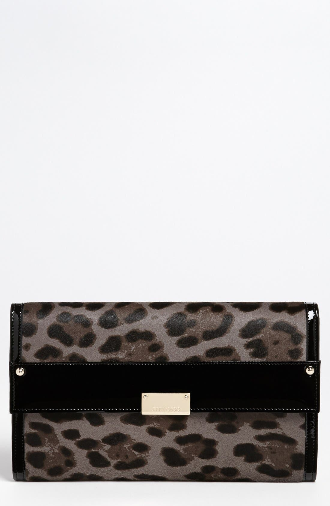 Main Image - Jimmy Choo 'Reese - Extra Large' Leopard Print Calf Hair Clutch
