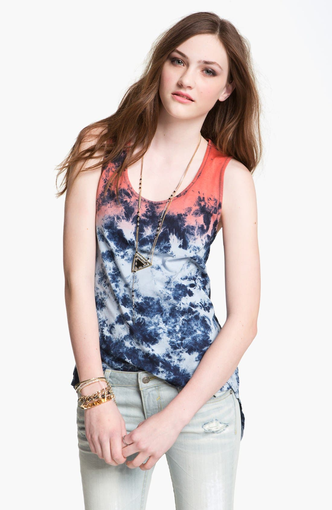 Alternate Image 1 Selected - Fire Ombré Tie Dye Open Back Tank (Juniors)