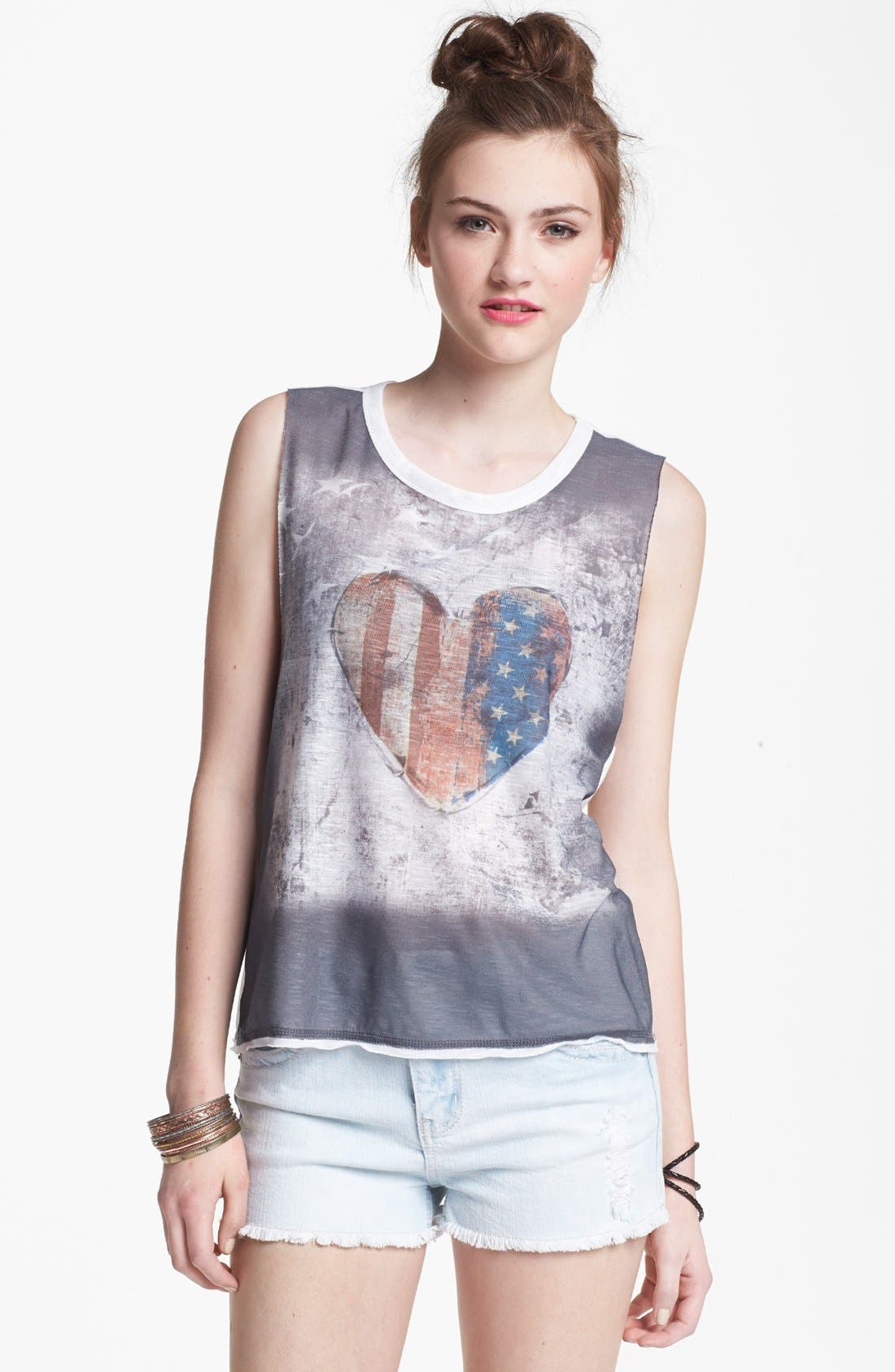 Alternate Image 1 Selected - Mary Jane Heart Flag Muscle Tank (Juniors) (Online Only)
