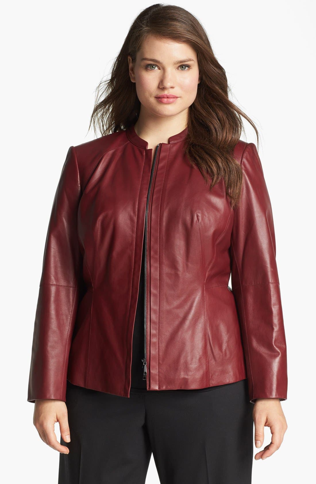 Alternate Image 1 Selected - Lafayette 148 New York Front Zip Leather Jacket (Plus Size)