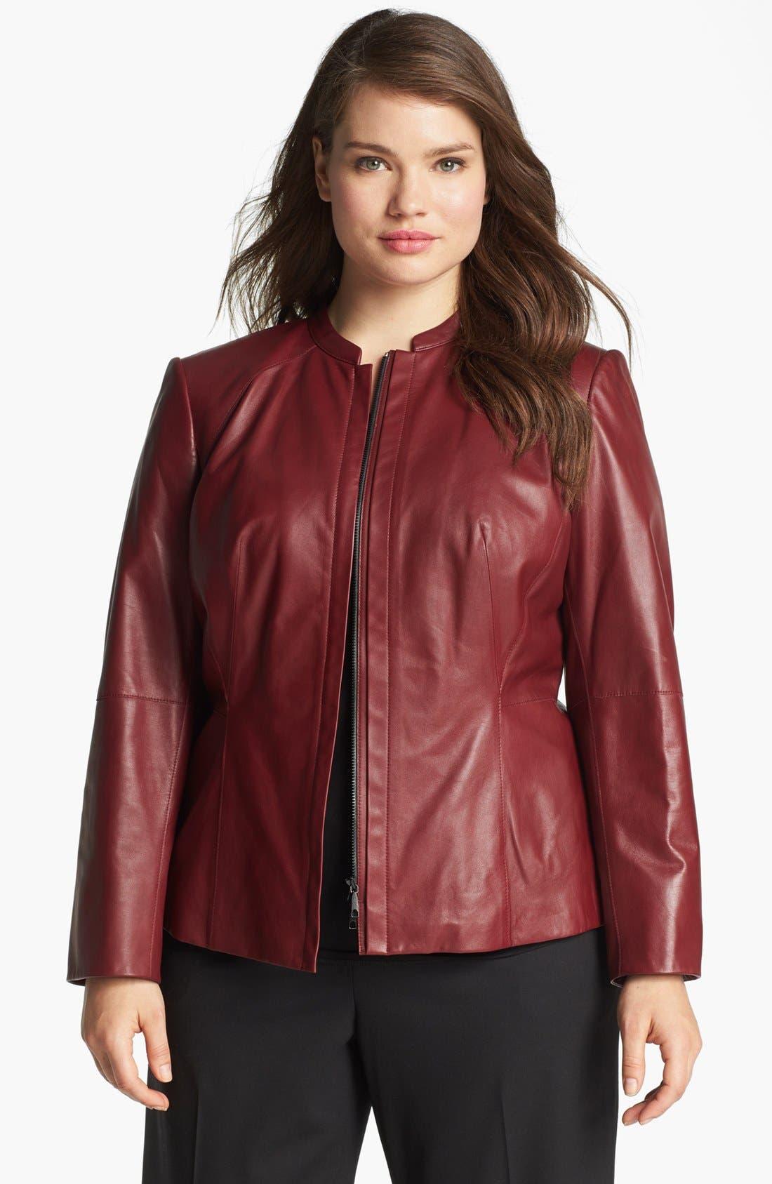 Main Image - Lafayette 148 New York Front Zip Leather Jacket (Plus Size)
