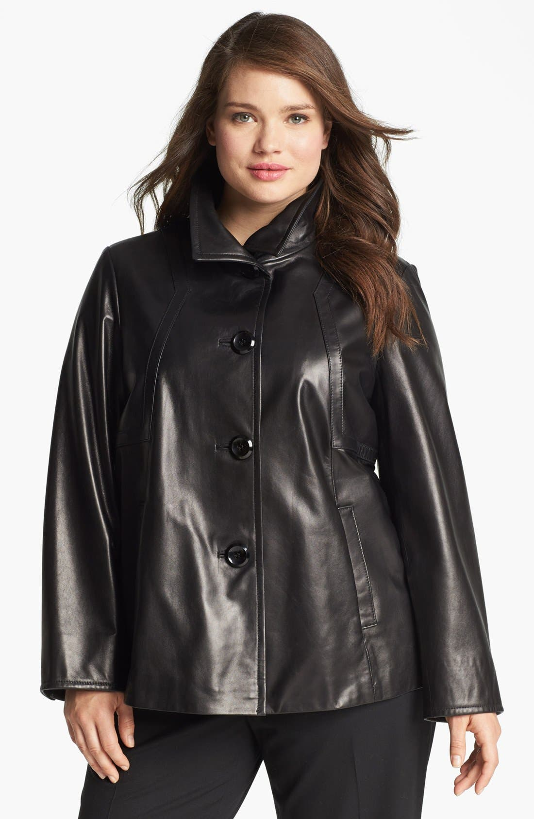 Main Image - Ellen Tracy A-Line Leather Jacket (Plus Size)