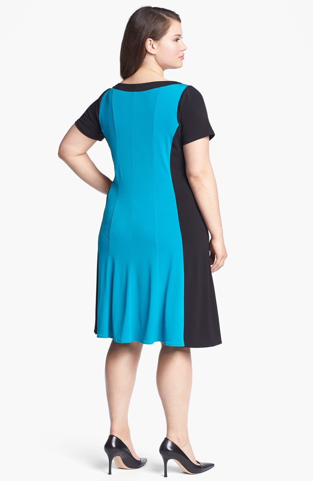 Alternate Image 2  - London Times Colorblock Matte Jersey Dress (Plus Size)