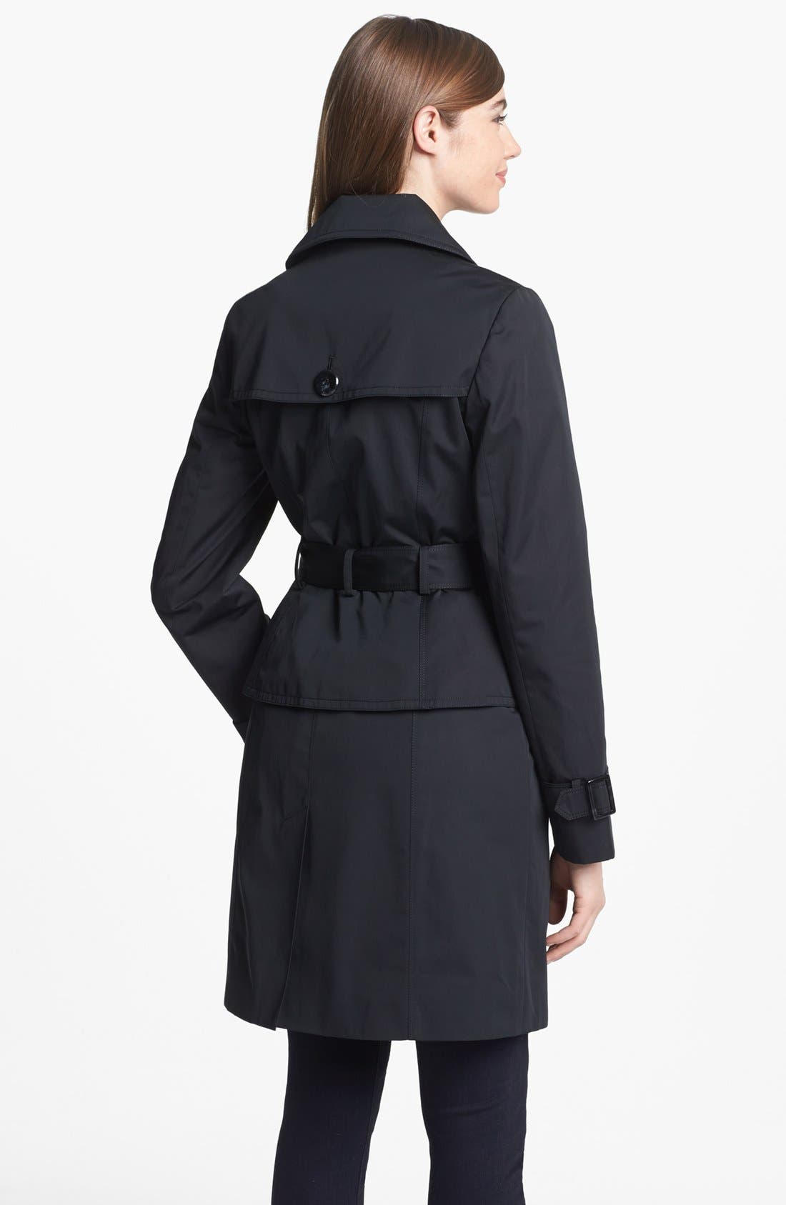 Alternate Image 2  - Ellen Tracy Double Breasted Trench Coat (Regular & Petite)