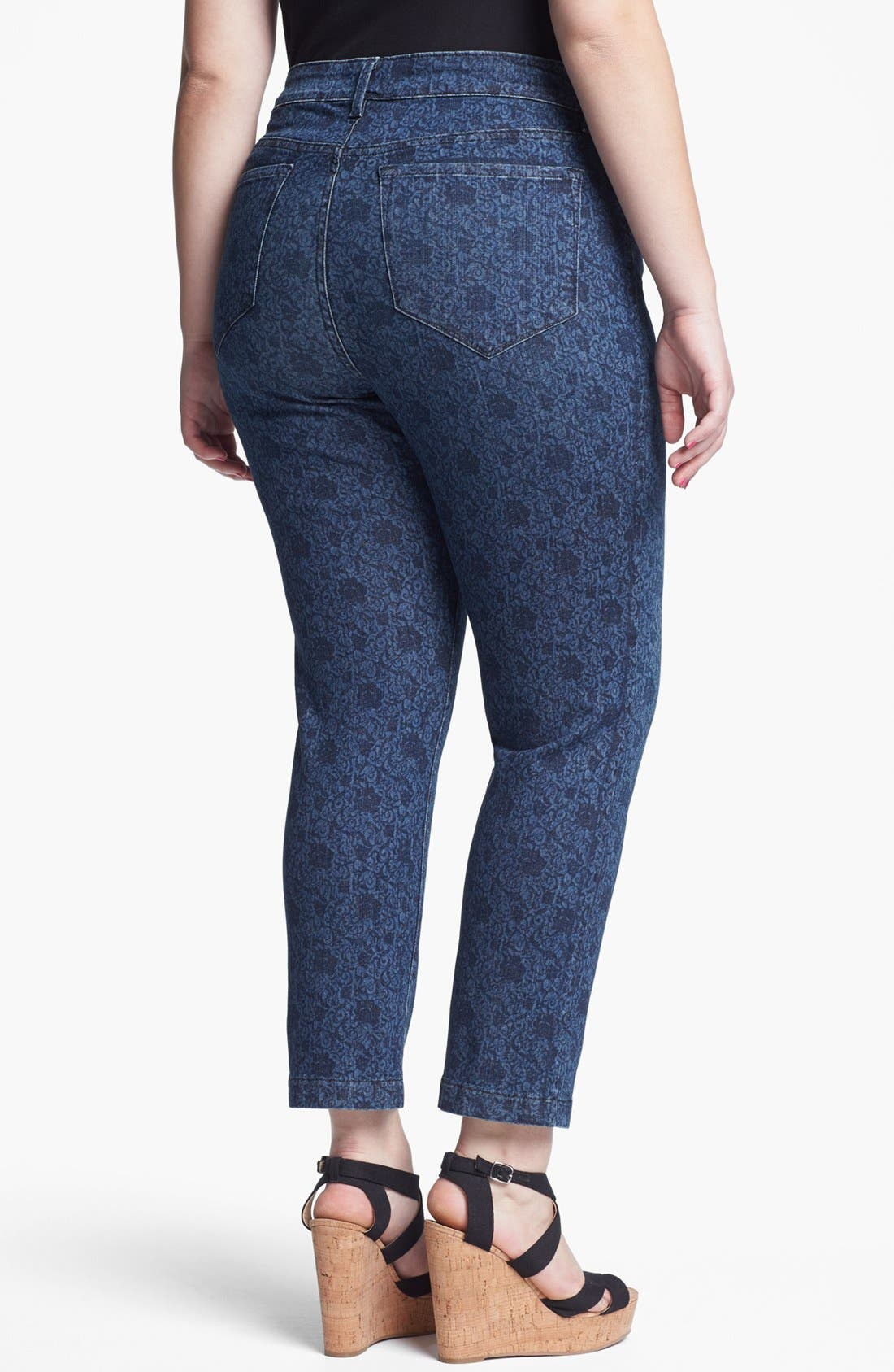 Alternate Image 2  - NYDJ 'Audrey' Rose Print Ankle Jeans (Plus Size)