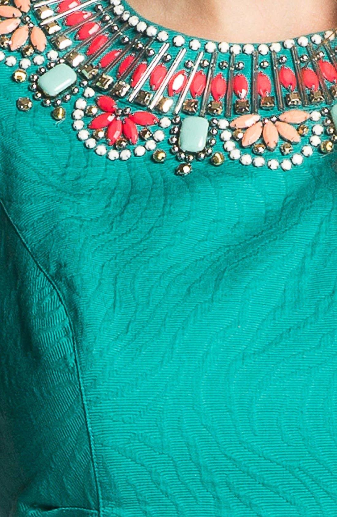 Alternate Image 3  - Laundry by Shelli Segal Beaded Collar Jacquard Dress