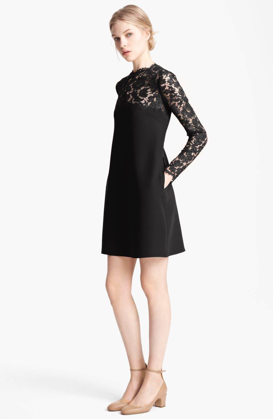 Main Image - Valentino Lace Yoke Cady Dress