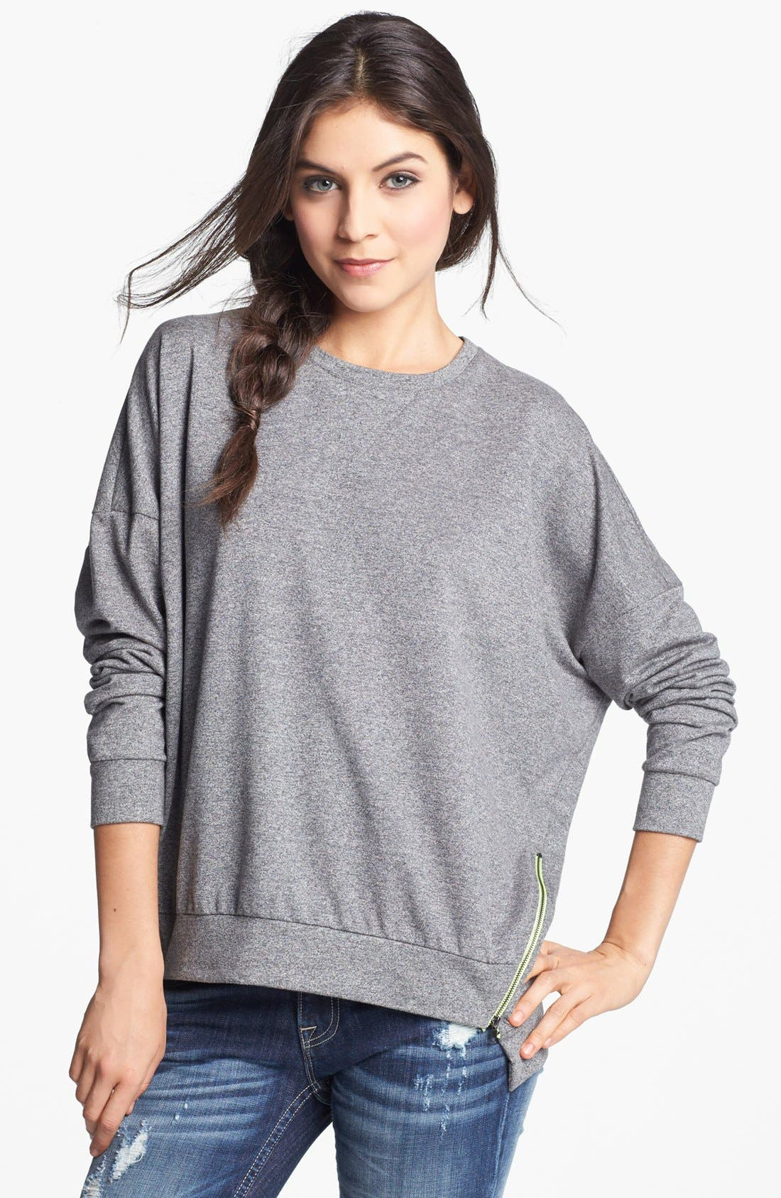 Alternate Image 1 Selected - Chloe K Side Zip Sweatshirt (Juniors)