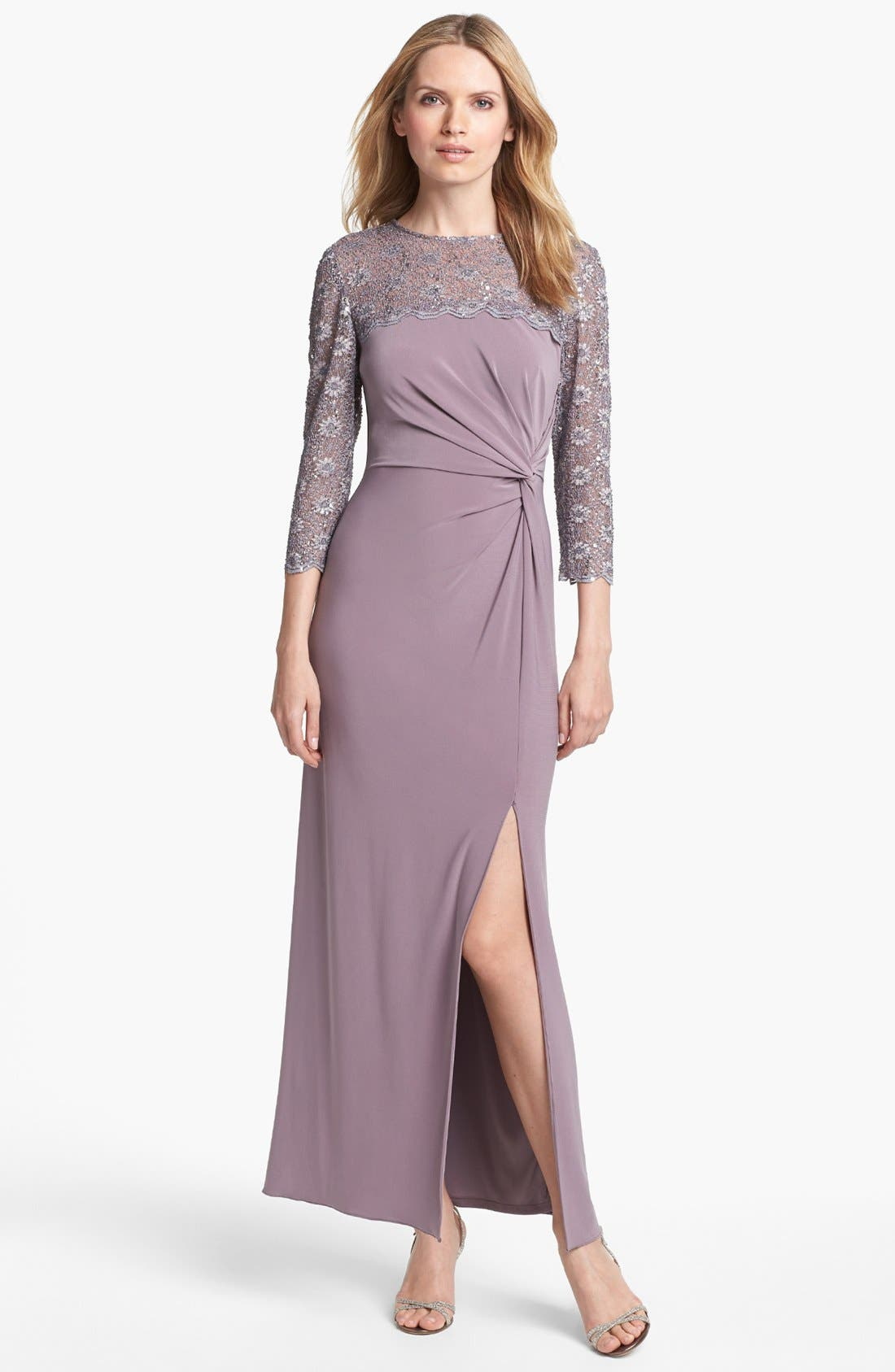 Alternate Image 1 Selected - Alex Evenings Lace Yoke Knotted Jersey Gown