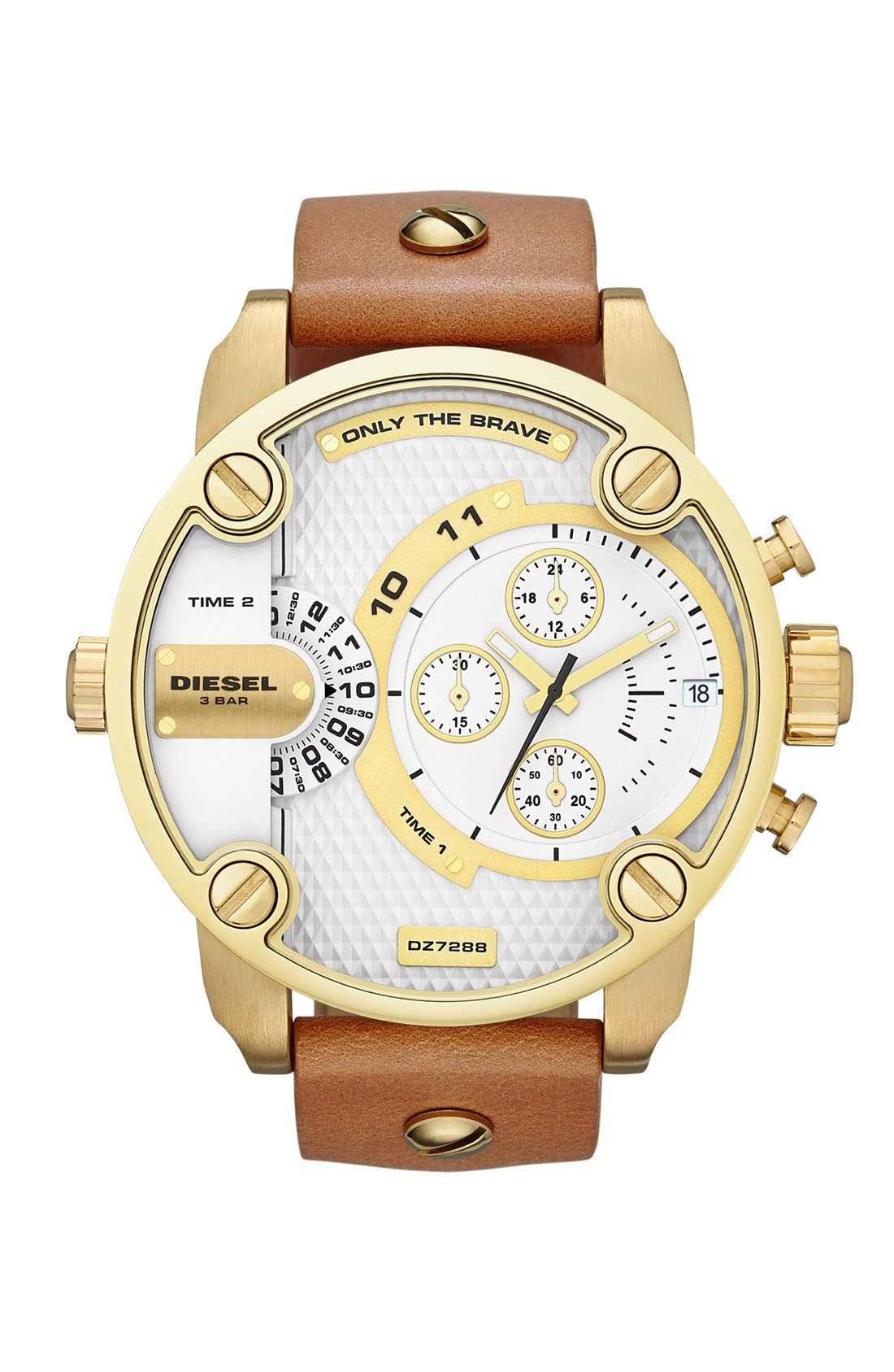 Alternate Image 1 Selected - DIESEL® 'Little Daddy' Chronograph Leather Strap Watch, 51mm