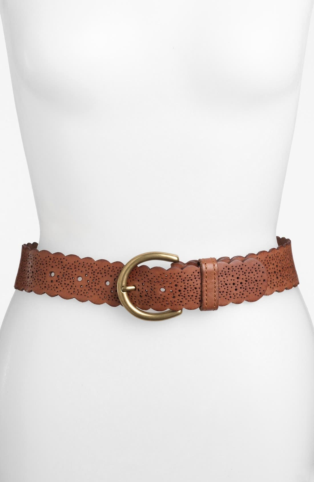Alternate Image 1 Selected - Fossil Scalloped Leather Belt