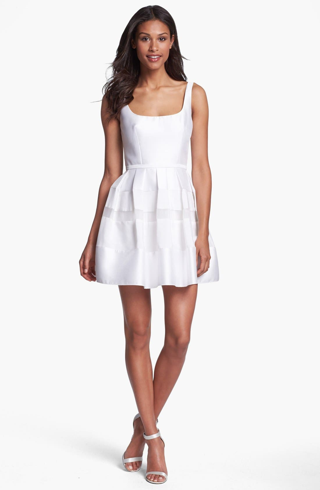 Main Image - ABS by Allen Schwartz Tonal Stripe Fit & Flare Dress