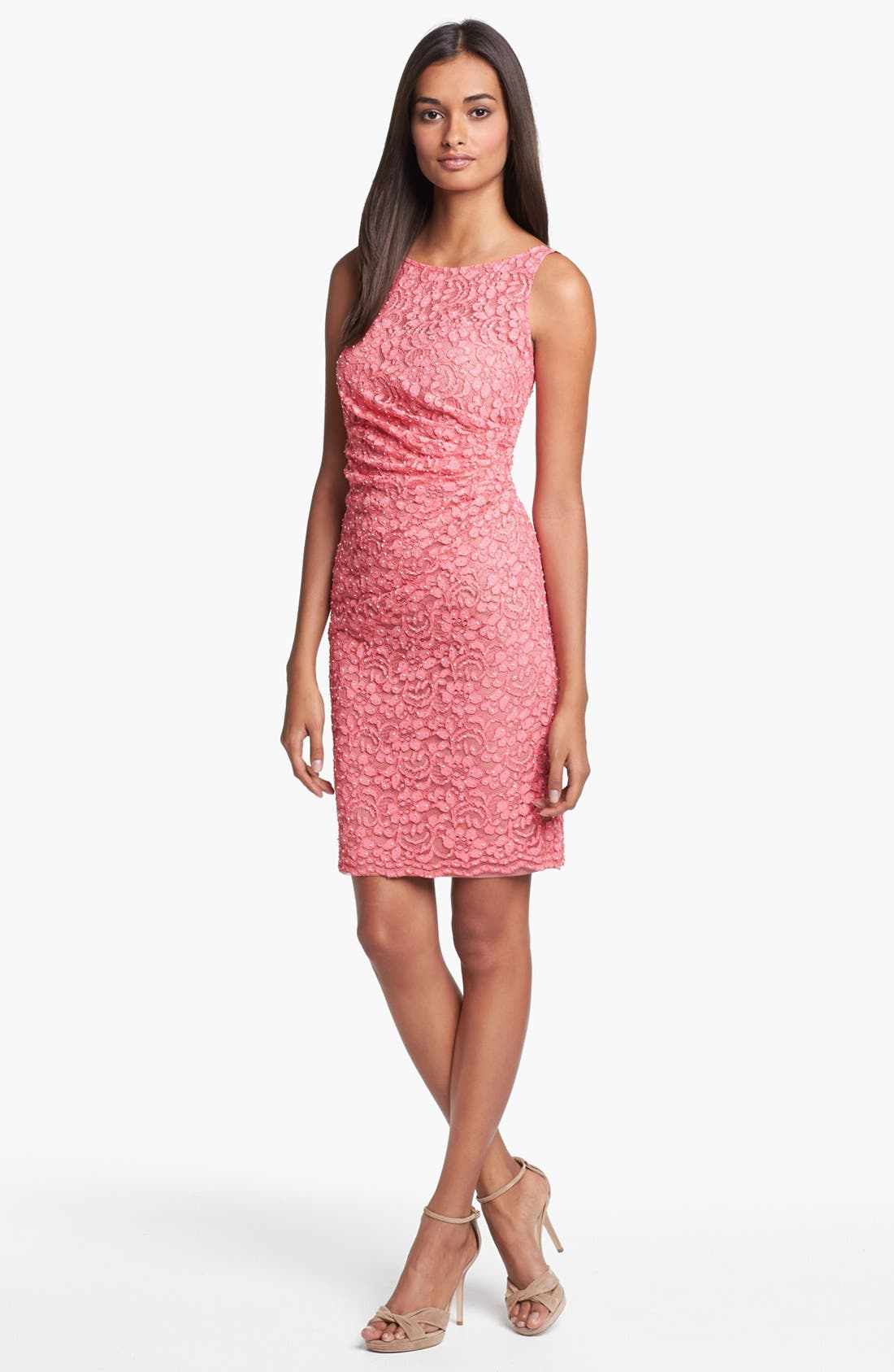 Alternate Image 1 Selected - Aidan Mattox Embellished Lace Sheath Dress (Online Only)