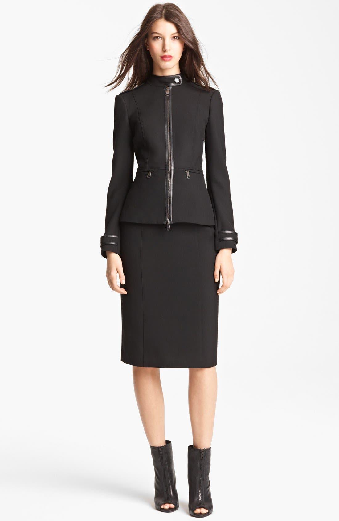 Alternate Image 2  - Burberry London Leather Trim Stretch Jersey Jacket