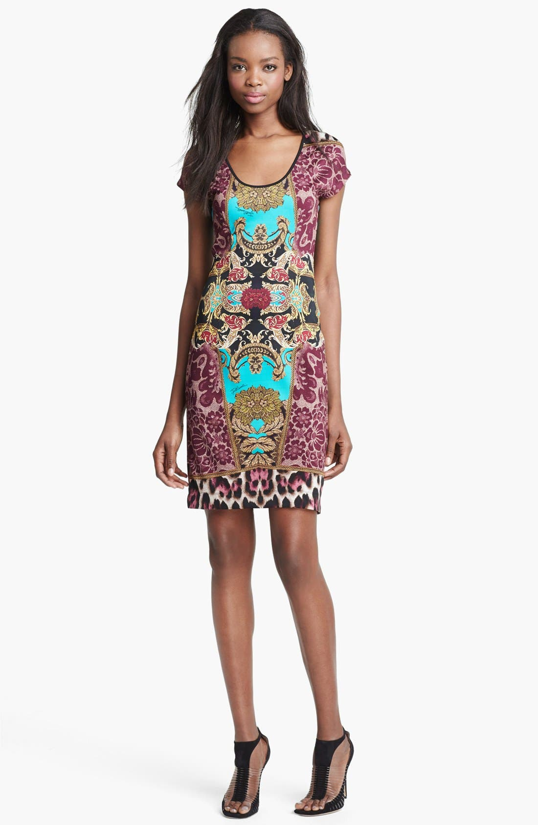 Alternate Image 1 Selected - Just Cavalli Cap Sleeve Print Jersey Dress