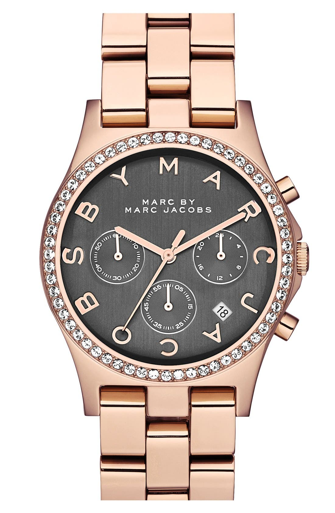 Main Image - MARC JACOBS 'Henry' Chronograph & Crystal Topring Watch, 40mm