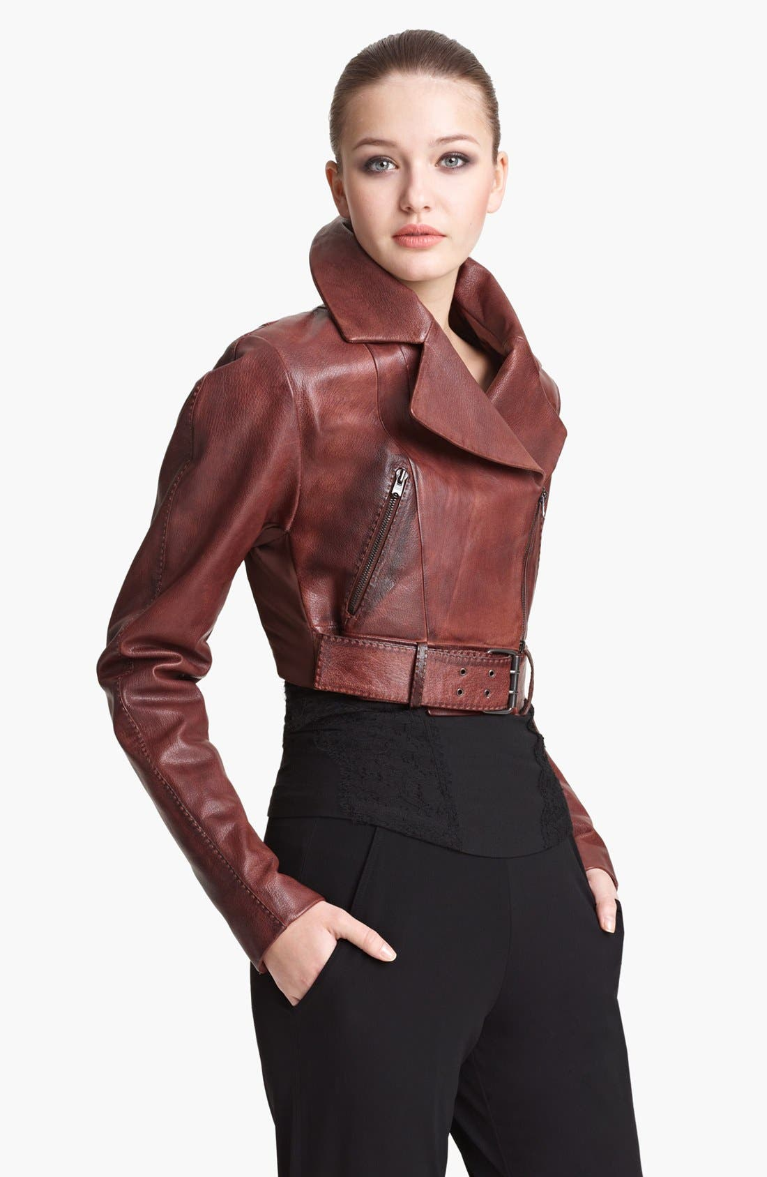 Main Image - Donna Karan Collection Crop Leather Biker Jacket