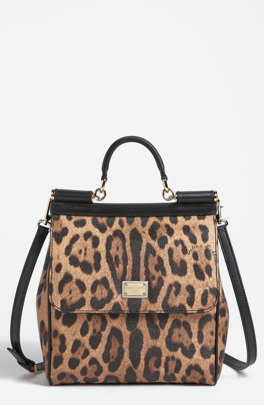 Alternate Image 1 Selected - Dolce&Gabbana 'Miss Sicily - Slim' Leopard Print Crossbody Satchel