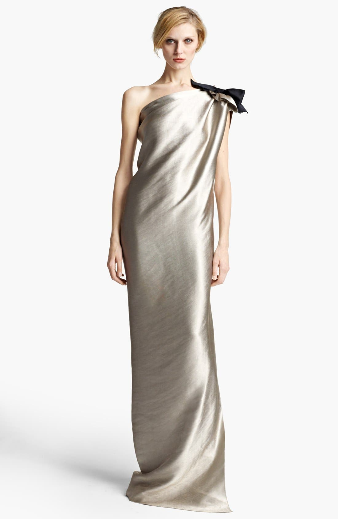 Main Image - Lanvin Washed Duchesse Satin One Shoulder Gown