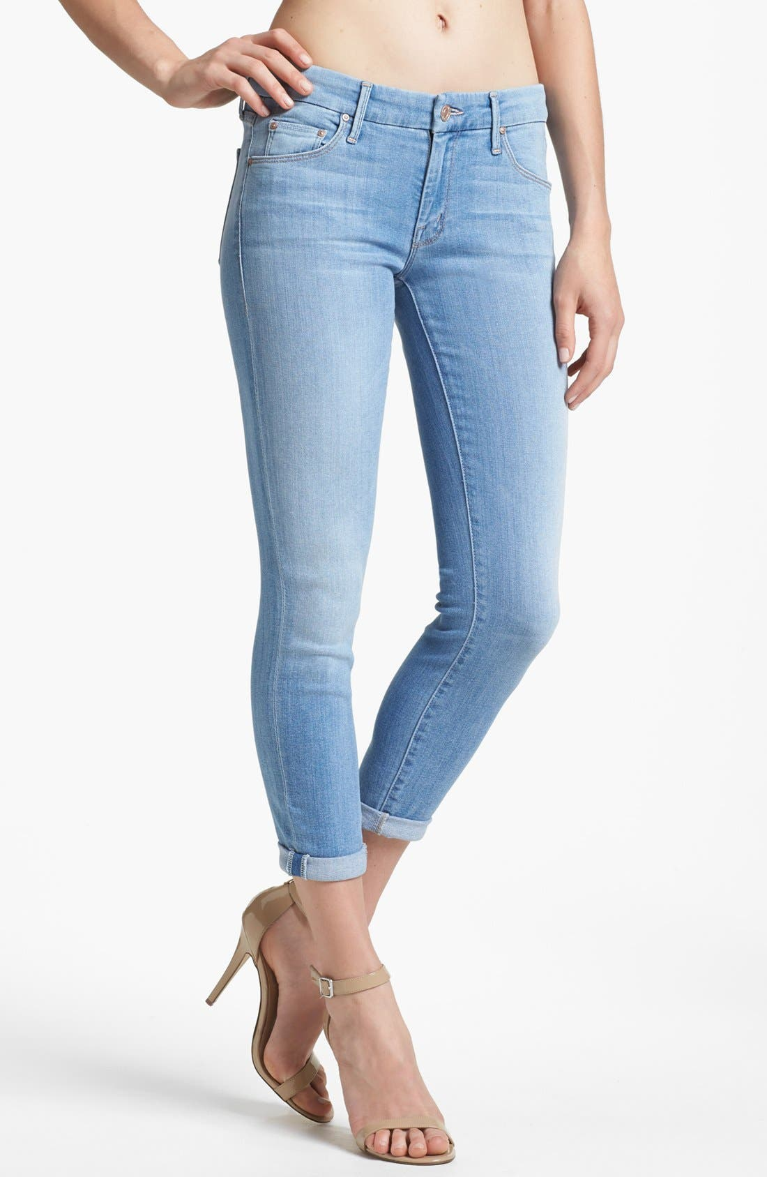 Alternate Image 1 Selected - MOTHER 'The Looker' Crop Skinny Jeans (Light Kitty)