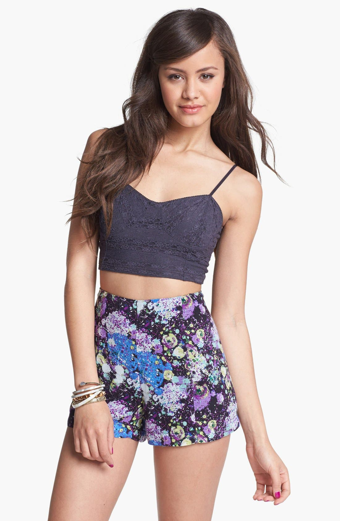Alternate Image 1 Selected - Lily White High Waist Print Shorts (Juniors)