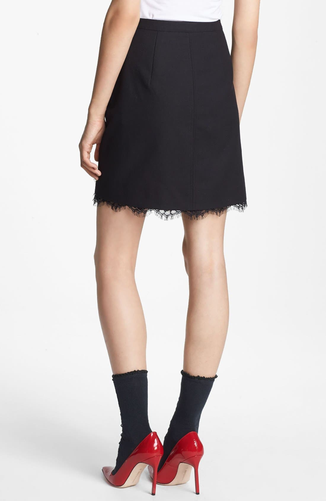Alternate Image 2  - Miss Wu Lace Hem Twill Skirt (Nordstrom Exclusive)