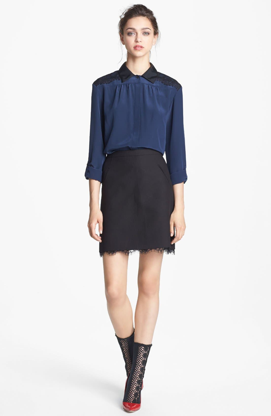 Alternate Image 2  - Miss Wu Lace & Crêpe de Chine Blouse (Nordstrom Exclusive)