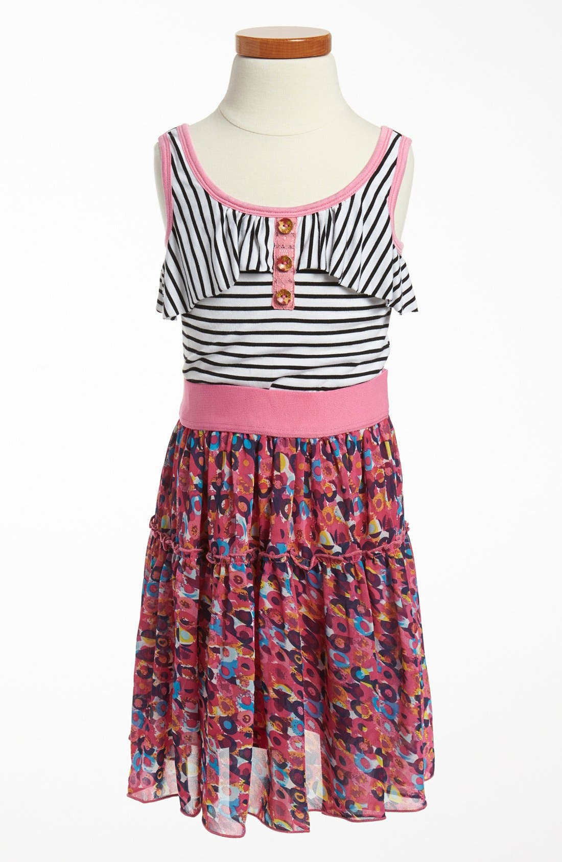 Main Image - Truly Me Sleeveless Stripe Dress (Little Girls & Big Girls)