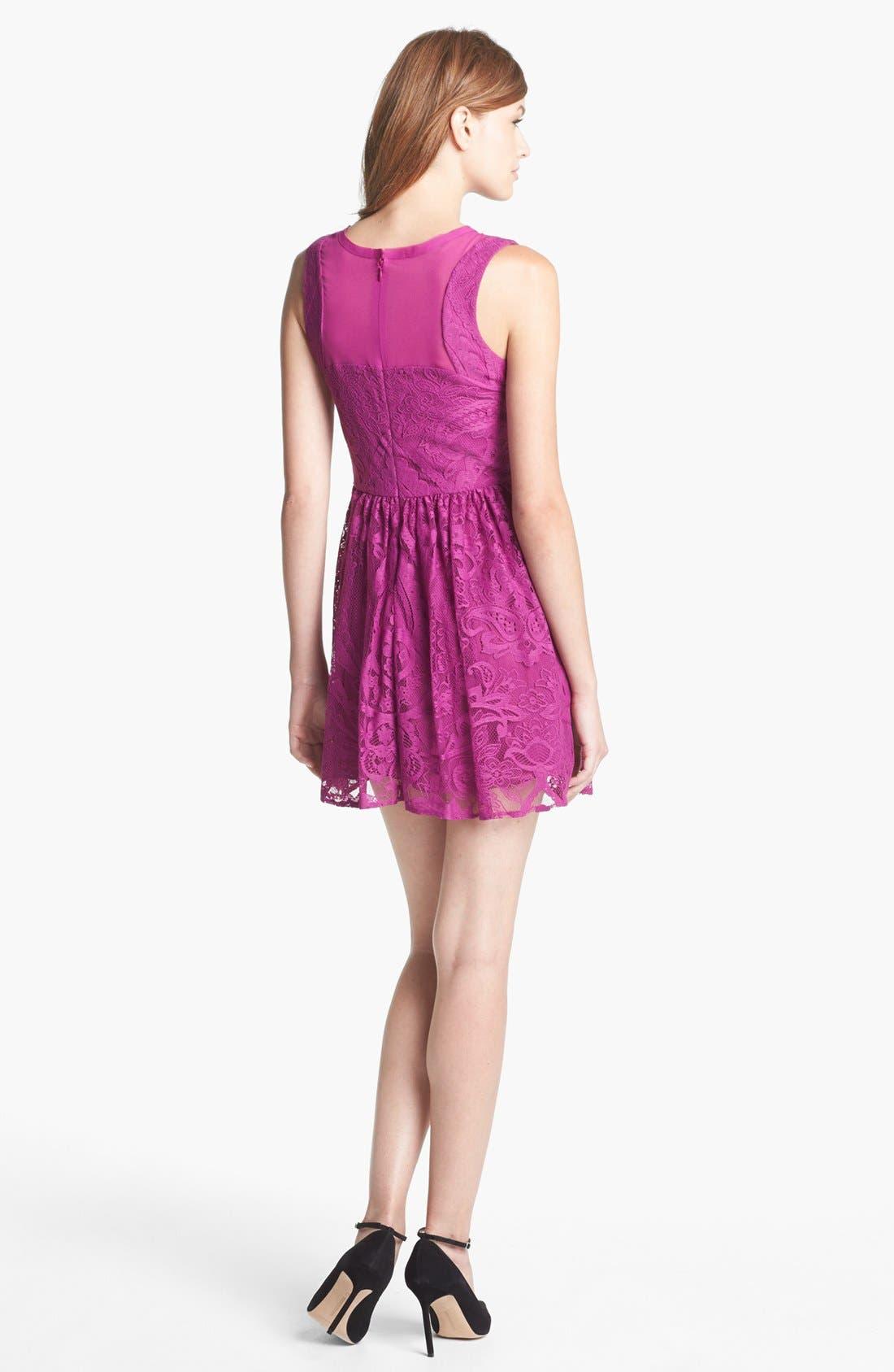 Alternate Image 2  - Nicole Miller Lace Fit & Flare Dress