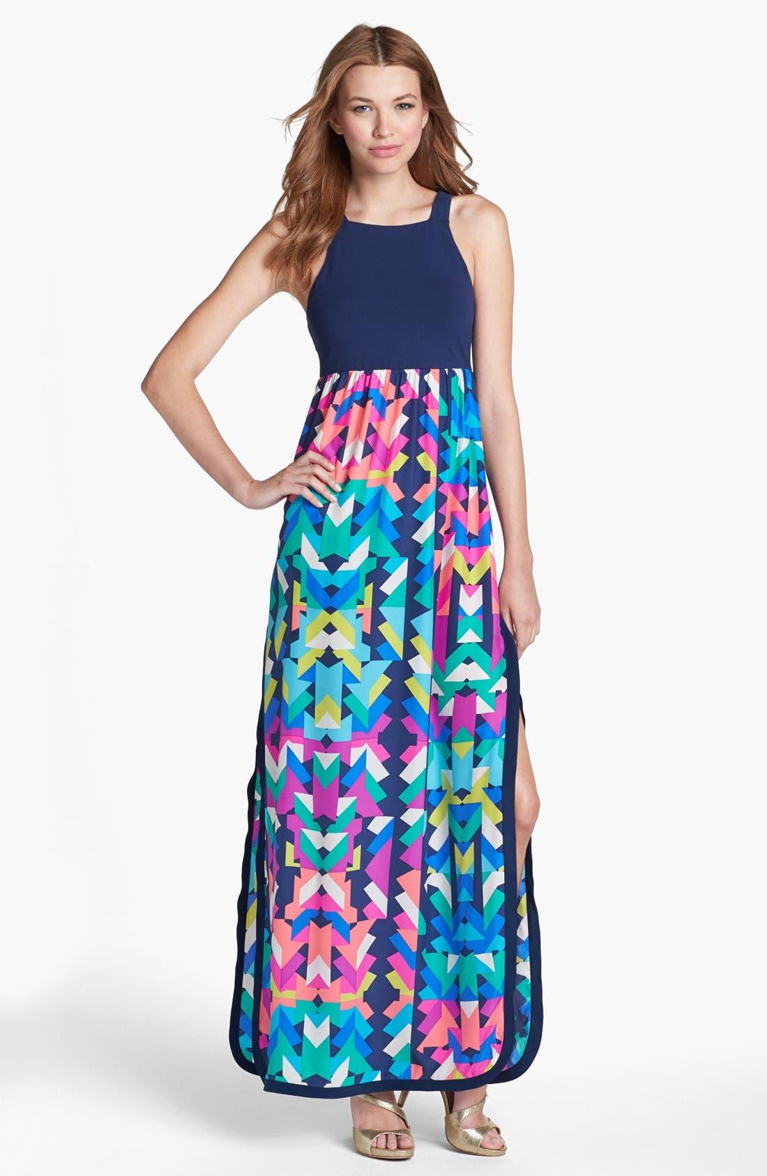 Main Image - ALICE & TRIXIE 'Leslie' Mixed Media Cutaway Maxi Dress