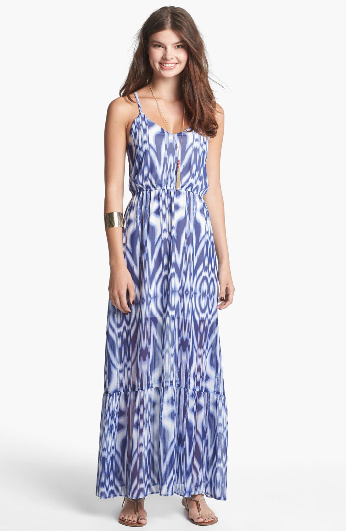 Main Image - dee elle Open Back Print Maxi Dress (Juniors)
