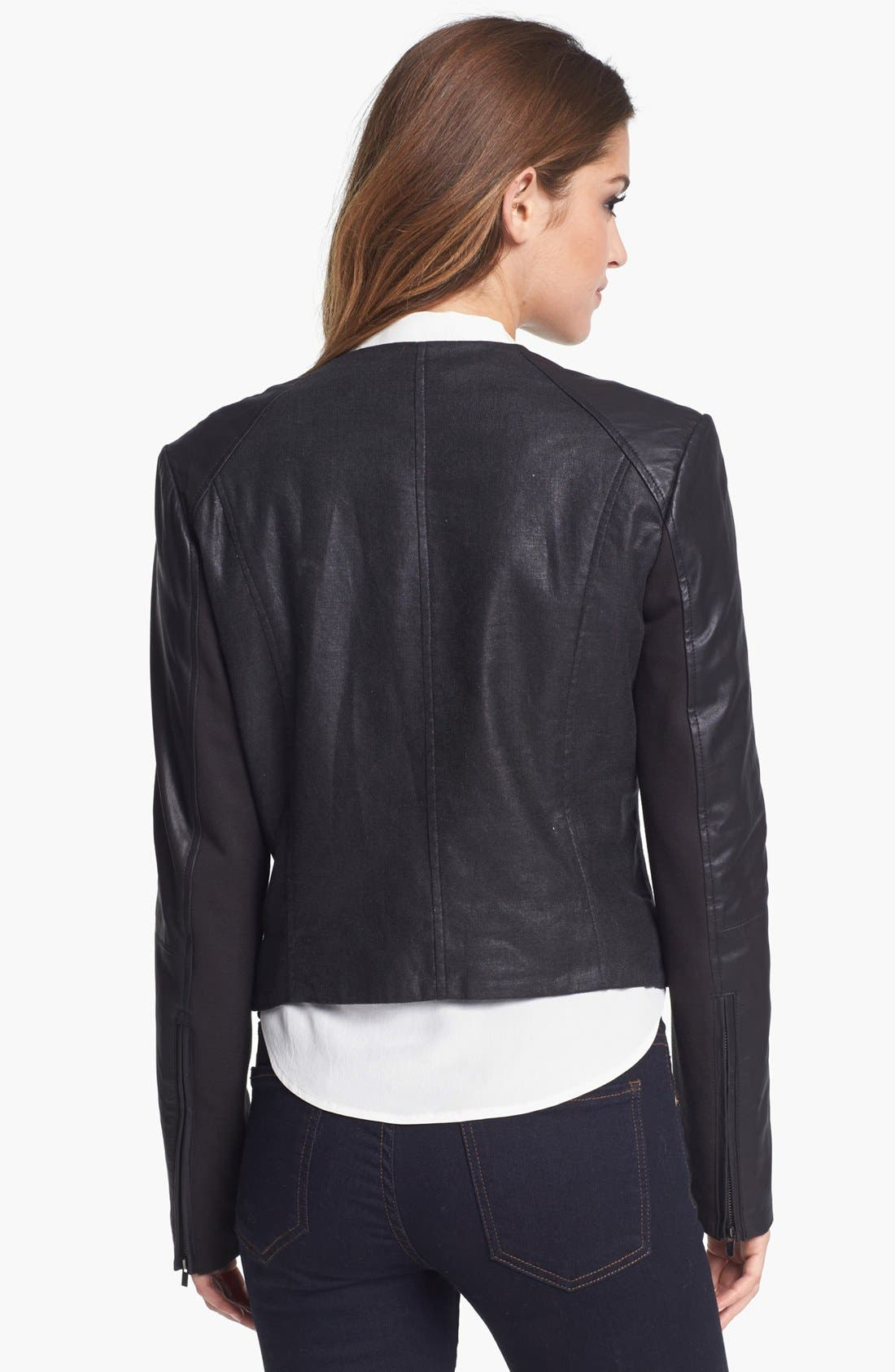 Alternate Image 2  - LaMarque Coated Moto Jacket with Leather Sleeves